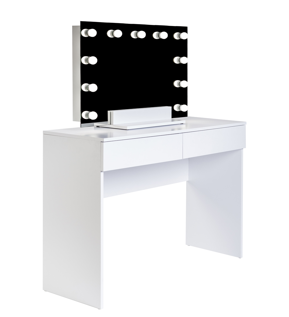 Biala toaletka z dwiema szufladami i lustrem z zarowkami LED
