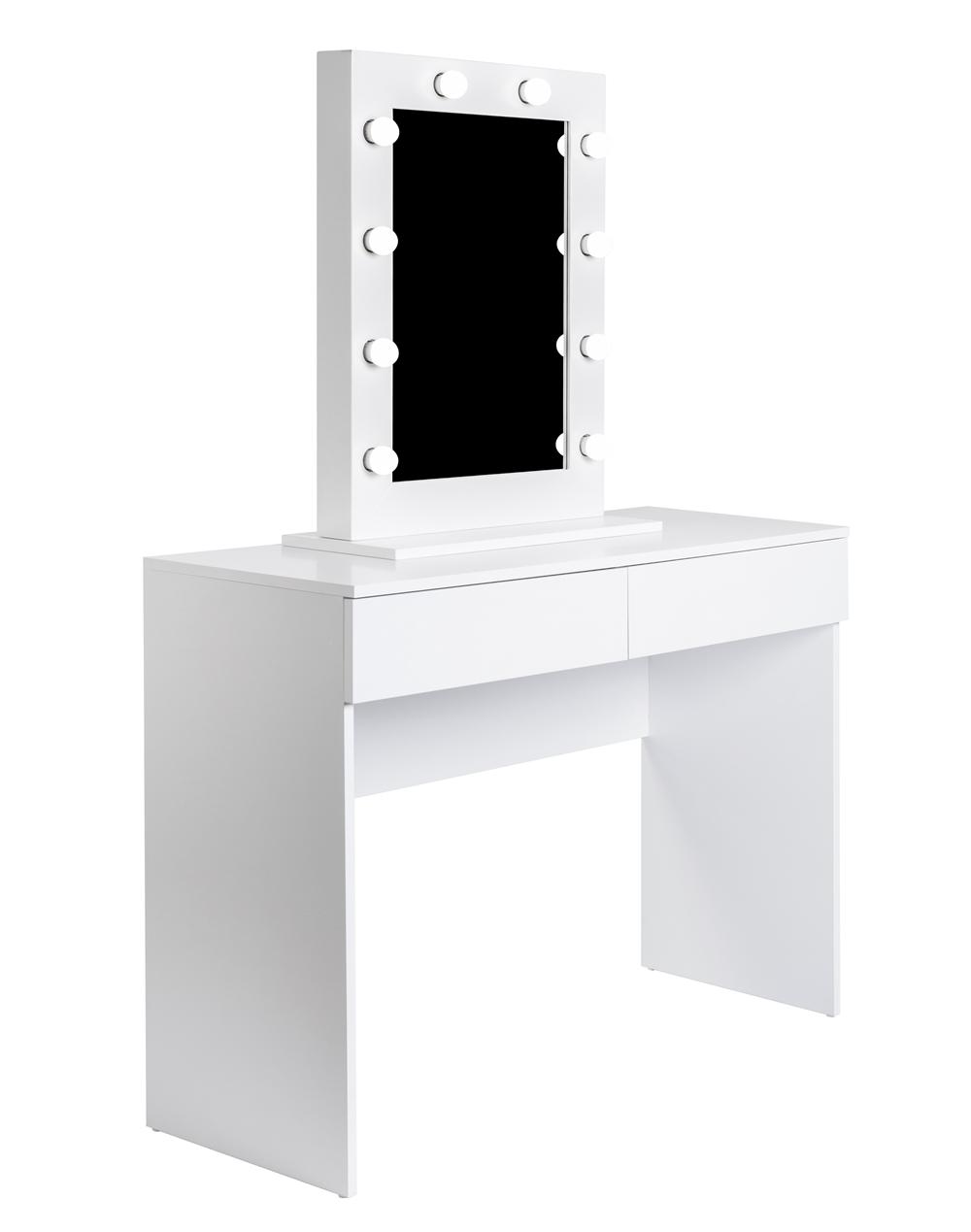 toaletka kosmetyczna z lustrem z żarówkami w białej ramie