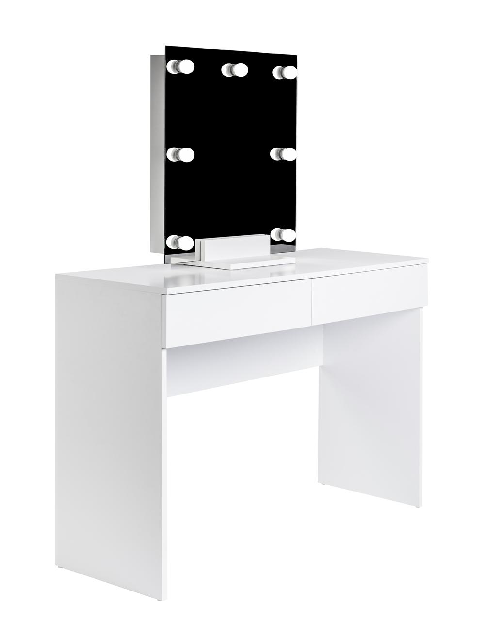 biala toaletka kosmetyczna z lustrem na podstawce